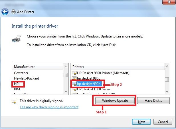 Printer Drivers for Windows 7